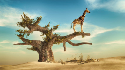 Giraffe on a tree. This is 3d render illustration