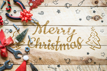 Merry Christmas and Happy new year handy tools gift background concept. Flat lay top view.