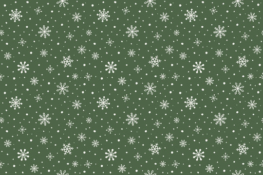 Pattern with hand drawn snowflakes. Christmas background. Vector