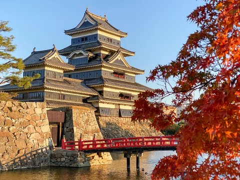 Title Matsumoto Castle with maple leaves in autumn in Nagano, Japan