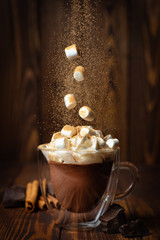 Papiers peints Chocolat hot chocolate or cocoa in cup