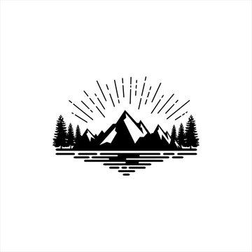 vintage mountain logo and illustration