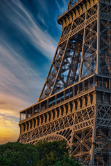 Papiers peints Tour Eiffel Beautiful Details of Eiffel Tower under an amazing Sky, Paris France