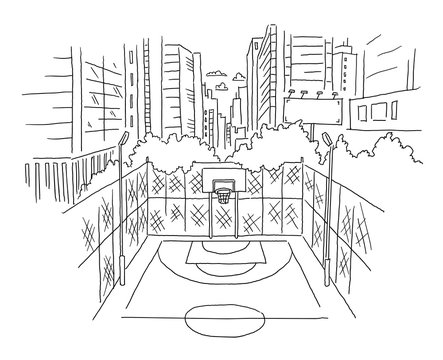 City basketball court sketch view. Building skyscrapers landscape trees on the background. Hand drawn black line.