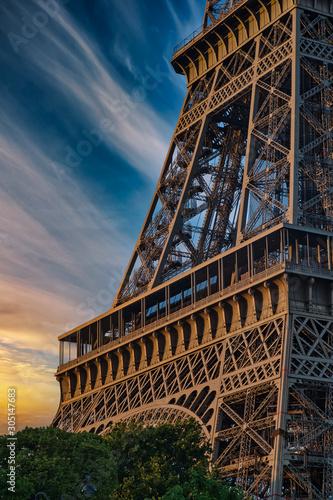 Wall mural Beautiful Details of Eiffel Tower under an amazing Sky, Paris France