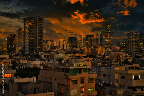 Wall mural Tel Aviv Cityscape under a Stormy and Surreal Sky