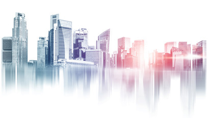 Abstract city building skyline metropolitan area in contemporary color style and futuristic...