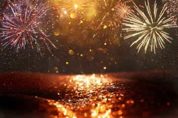 Fond de hotte en verre imprimé Montagne abstract gold, black and gold glitter background with fireworks. christmas eve, 4th of july holiday concept