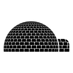 Igloo dwelling with icy cubes blocks Place when live inuits and eskimos Arctic home Dome shape icon black color vector illustration flat style image