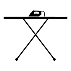 Ironing board with iron icon black color vector illustration flat style image