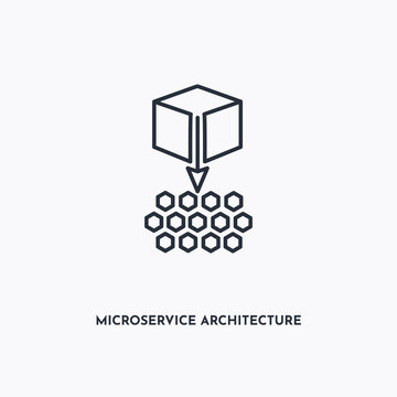 Microservice architecture outline icon. Simple linear element illustration. Isolated line Microservice architecture icon on white background. Thin stroke sign can be used for web, mobile and UI.