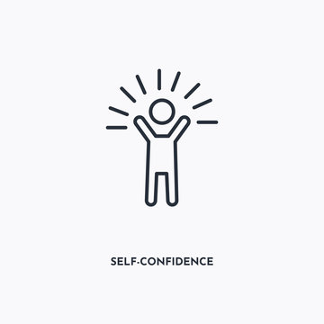 Self-Confidence outline icon. Simple linear element illustration. Isolated line Self-Confidence icon on white background. Thin stroke sign can be used for web, mobile and UI.