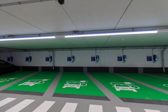 Electric EV vehicle charging car park spaces