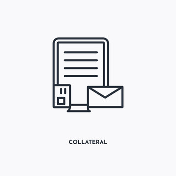 collateral outline icon. Simple linear element illustration. Isolated line collateral icon on white background. Thin stroke sign can be used for web, mobile and UI.
