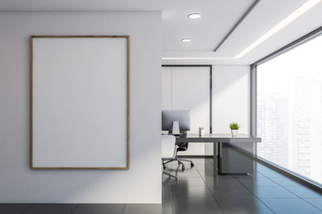 White panel CEO office with poster