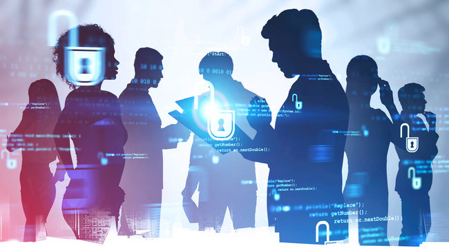Diverse business team in city, cyber security