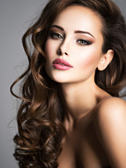 Beautiful woman with long bown hair