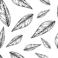 Foto op Canvas Boho Stijl Floral seamless pattern in line art style. Abstract botanical print of flowers, leaves, twigs.Textile design texture. Spring blossom background. Vector illustration.