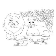 Illustration of a family of lions. A lion, a lioness and three cubs are resting. Wild animals picture for children. A family of lions while relaxing.