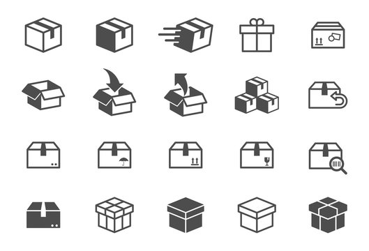 box vector icons isolated on white background. Packaging boxes icons for web, mobile apps and ui design