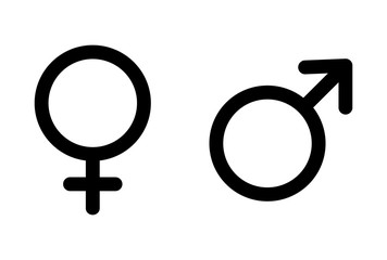 Male and female icon, symbol set. Website design vector illustration isolated on white background