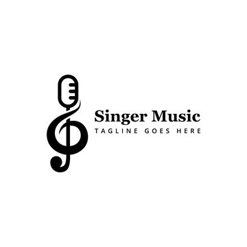 singer music logo concept for your brand
