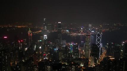 Fotomurales - Aerial Hong Kong city view from the peak at night