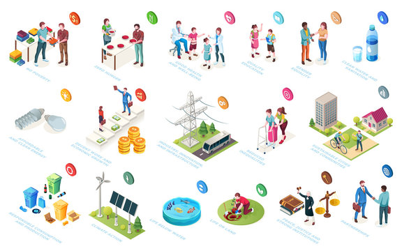 Sustainable development, economy and society sustainability, social responsibility, vector isometric icons. CSR initiatives, life level improvement, community protection and environment conservation