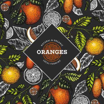 Citrus fruits design template. Hand drawn vector color fruit illustration on dark background. Vintage citrus banner.