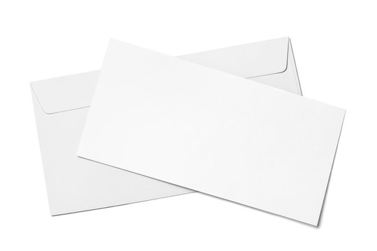 Blank white paper in envelope, isolated on white background