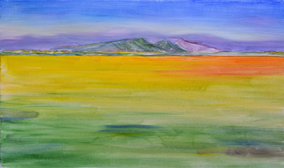 Acrylic Prints Olive Oil painting on canvas. Mountains, sky and field. Minimalism. Oil painting.