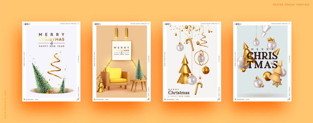 Fotomurales - Set of Christmas and New Year holiday gift cards. Xmas banners, web poster, flyers and brochures, greeting cards, group bright covers. Design with realistic Christmas decoration objects.