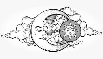 Vintage hand drawn moon, sun and night sky. Vector illustration for coloring book, t-shirts design, tattoo, art.Vector illustration.