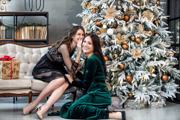 Beautiful happy young two women with smiles on their faces communicate on the background of Christmas decorations and a Christmas tree