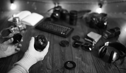 The photographer's desk, digital camera accessories