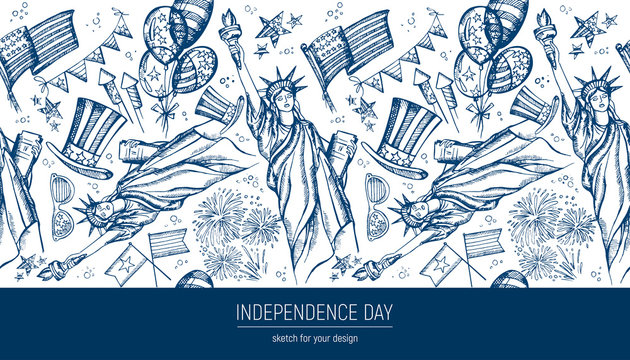 Seamless pattern 4th of July . Hand drawn vector illustrations. Independence Day background. USA national sketches. Material design for greeting card, flyer, banner, poster