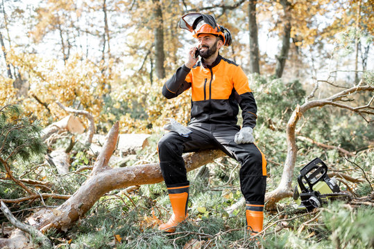 Professional lumberman in protective workwear talking on phone, while sitting on the felled tree, resting after the hard work in the forest