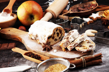 Christmas stollen and cookies. Traditional German festive baking for xmas