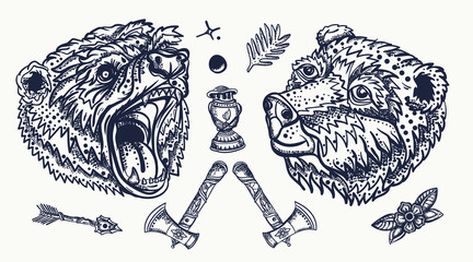 Bear head. Old school tattoo collection. Aggressive grizzly, kerosene lamp, flowers and mountains