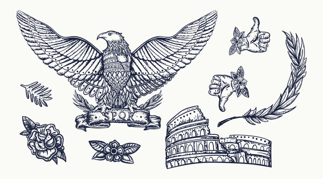 Ancient Rome. Old school tattoo collection. Roman eagle. Colosseum. History of Italy. Traditional tattooing style