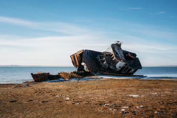 Photo sur Toile Naufrage Ship remains on shore of Aral sea or Aral lake, Kazakhstan