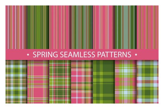 Plaid pattern seamless ornate. Set spring vector background. Fabric texture collection.