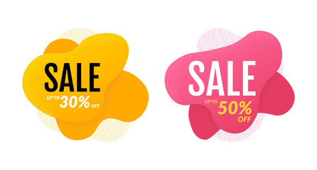Set of sale banner template design with colored liquid shape. Vector illustration isolated on white background. EPS 10.