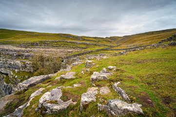 Pennine Way above Malham Cove, in Malhamdale which has extensive Limestone Pavement at the top where the Pennine Way passes by and on up Ing Scar