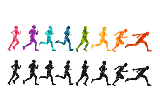 Running marathon, people run, colorful poster vector illustration man sketch hand drawing sport