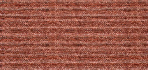 Zelfklevend Fotobehang Baksteen muur Old red brick wall background, wide panorama of masonry