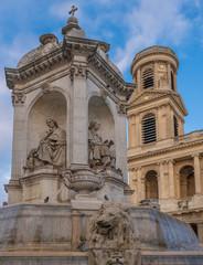 Church of Saint-Sulpice, Place Saint-Sulpice, Latin Quarter, 6th arrondissement., Paris, France