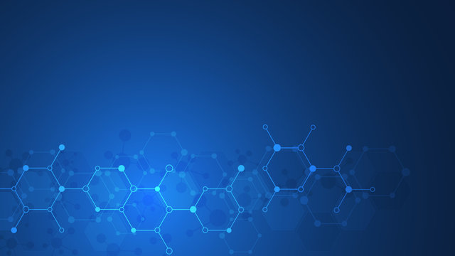Abstract background of molecules. Molecular structures or chemical engineering, genetic research, innovation technology. Scientific, technical or medical concept.