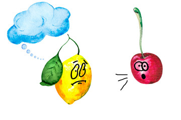 Watercolor illustration of animated lemon and juicy cherry.  Colorful fun pattern to create the idea of talking fruit with emotions.