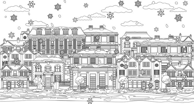 A Christmas street scene with victorian and georgian style houses, shops and other buildings in the snow. In outline like a coloring book page illustration
